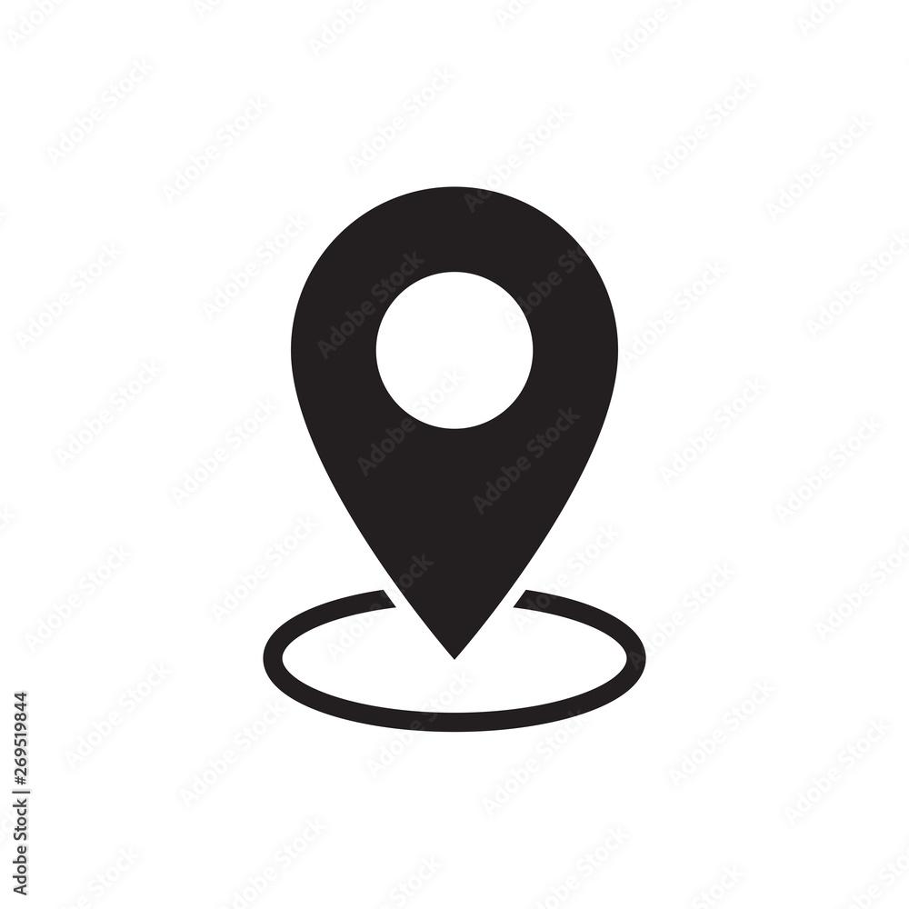 Fototapeta black flat map pointer icon on white background