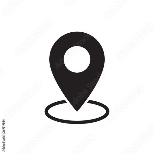 Cuadros en Lienzo  black flat map pointer icon on white background