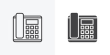 Office Phone Icon. Line And Gl...