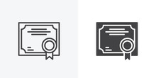 Quality Certificate Icon. Line And Glyph Version, Business Certificate Outline And Filled Vector Sign. Linear And Full Pictogram. Symbol, Logo Illustration. Different Style Icons Set