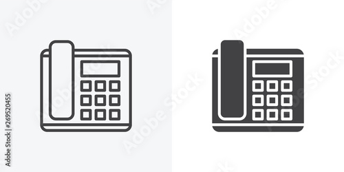 Office phone icon  line and glyph version, office telephone
