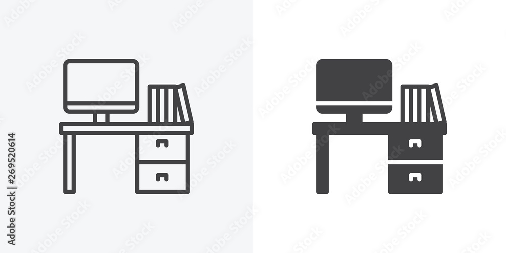 Fototapeta Office workspace desk icon. Computer table with folders line and glyph version, outline and filled vector sign. linear and full pictogram. Symbol, logo illustration. Different style icons set