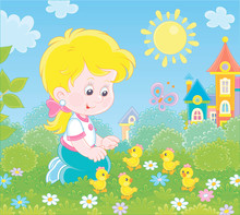 Little Girl Playing With Small Yellow Chicks Among Flowers On Green Grass On A Sunny Summer Day, Vector Illustration In A Cartoon Style