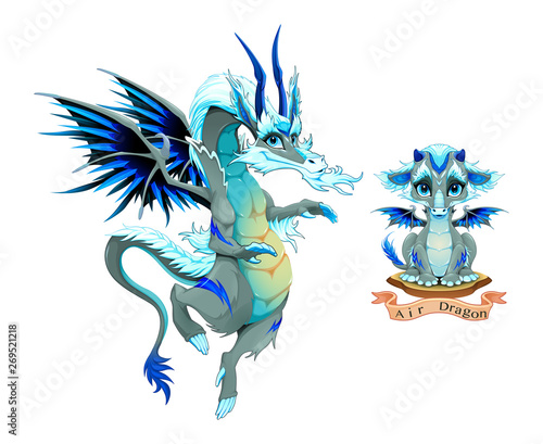 Dragon of Air Element, puppy and adult