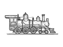 Old Steam Locomotive Train Transport Sketch Line Art Engraving Vector Illustration. Scratch Board Style Imitation. Black And White Hand Drawn Image.