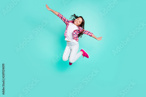 Fotografie, Obraz  Full length body size view photo of sweet funky charming kid have travel trip va
