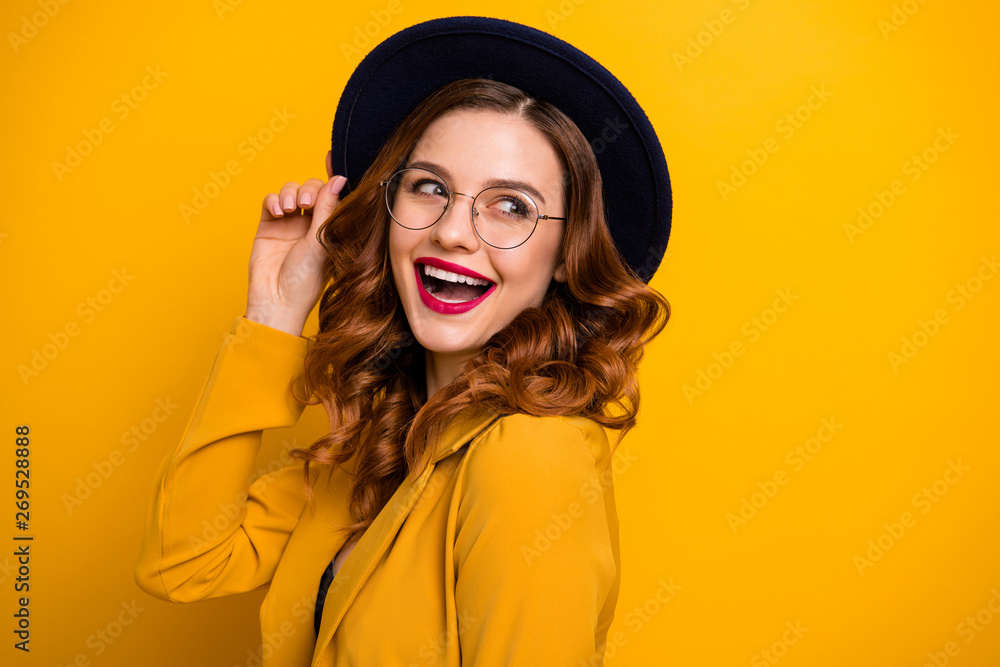Fototapeta Close-up portrait of her she nice charming cute attractive lovely adorable winsome fascinating chic cheerful wavy-haired lady wearing yellow blazer isolated on bright vivid shine orange background