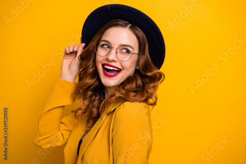 Obraz Close-up portrait of her she nice charming cute attractive lovely adorable winsome fascinating chic cheerful wavy-haired lady wearing yellow blazer isolated on bright vivid shine orange background - fototapety do salonu