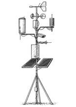 Weather Station Illustration, Drawing, Engraving, Ink, Line Art, Vector