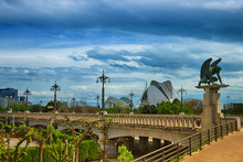 Spain. Valencia. Panorama. View Of The City Of Science And Arts.