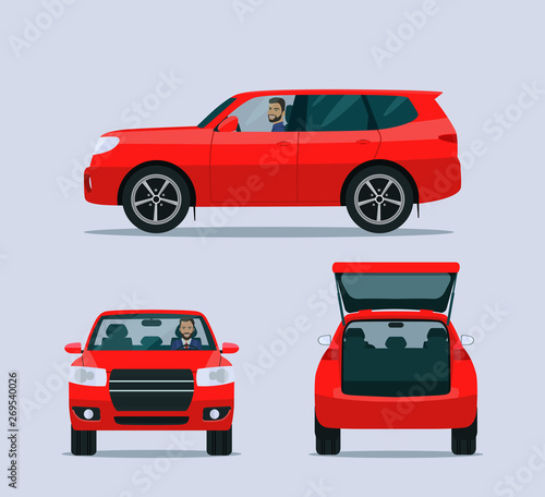 Obraz Red SUV car isolated. Car with driver man side view, back view and front view. Vector flat style illustration - fototapety do salonu