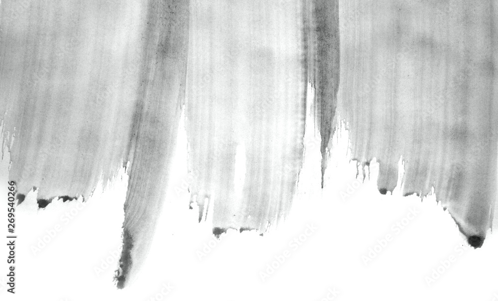 Fototapety, obrazy: Abstract watercolor background hand-drawn on paper. Volumetric smoke elements. Neutral Gray color. For design, web, card, text, decoration, surfaces.