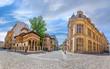 Leinwanddruck Bild - Old town of Bucharest. Stavropoleos monastery, St. Michael and Gabriel church in a summer day in Bucharest, Romania.