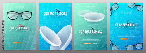 Obraz Set of Banners for Glasses Clinic or Optical Store with eye glasses and Contact Lenses. Hand draw doodle background. - fototapety do salonu