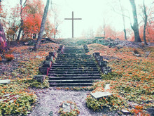 Christian Cross On A Hill  ,stairway To Heaven