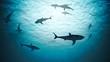 Silhouettes of sharks underwater in ocean against bright light.