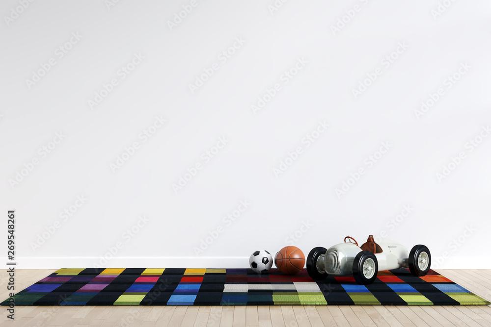 Fototapety, obrazy: Kids Playroom Interior Wall Mockup - 3d Rendering, 3d Illustration
