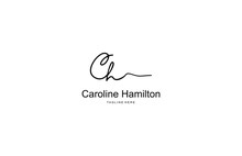 Calligraphy Signature Letter CH Logotype