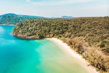 Long Beach On Koh Rong Island In Cambodia, South-East Asia. Top View, Aerial View Of Beautiful Tropical Island In Gulf Of Thailand.
