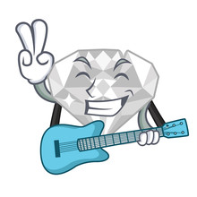 With Guitar White Diamond Isolated In The Cartoon