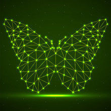 Abstract Neon Butterfly Of Lines And Dots, Glowing Polygonal Geometric Structure. Vector Design