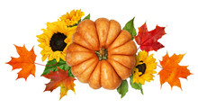 Round Pumpkin With Autumn Colorful Leaves And Sunflowers