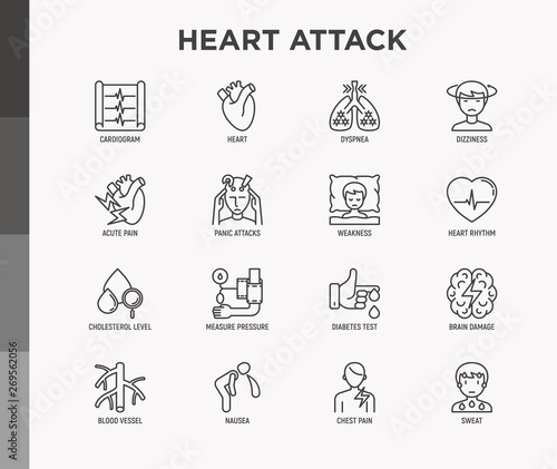 Valokuvatapetti Heart attack symptoms thin line icons set: dizziness, dyspnea, cardiogram, panic attack, weakness, acute pain, cholesterol level, nausea, diabetes