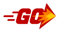 Word Go With Arrow. Red Vector Lettering On White Background