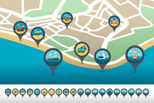 Traveling Pin Map Icon Located...