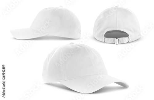 Stampa su Tela  white canvas fabric cap isolated on white background