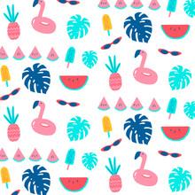 Flamingo Watermelon Popsicle Ananas Pattern