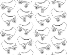Vector Seamless Pattern Of Flat Cartoon Black Line Drawn Roller Skates Isolated On White Background