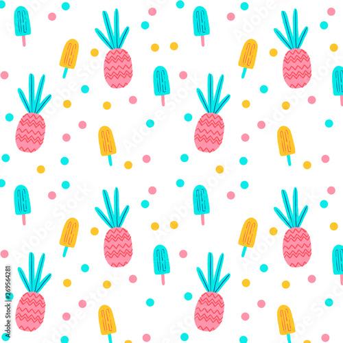 Cotton fabric Pineapple Posicles Pattern