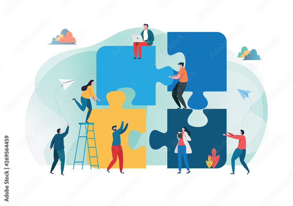 Fototapety, obrazy: Teamwork successful together concept. Marketing content. Business People Holding the big jigsaw puzzle piece. Flat cartoon illustration vector graphic design on white background. Landing page template
