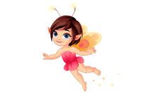 Cute Little Flower Fairy Flying Vector Illustration 3