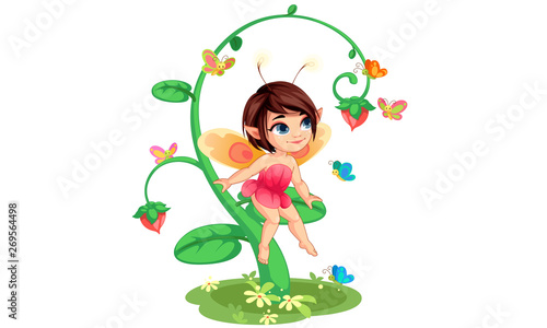 Obraz na płótnie Cute little flower fairy sitting vector illustration 6