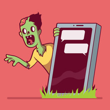Zombie Behind A Smartphone Grave Vector Illustration. Zombie, Technology, Death, Social Media, Addiction Design Concept