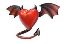 3D Render Of Red Heart Shape With Devil Wings Isolated On White Background