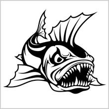 Cartoon Monster Fish Vector Il...