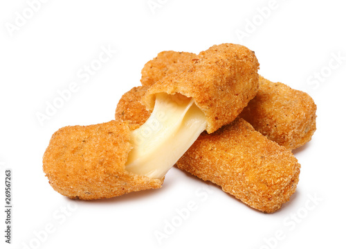 Fotomural  Pile of tasty cheese sticks isolated on white