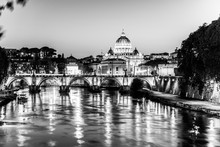 St Peters Basilica In Vatican And Ponte Sant'Angelo Bridge Over Tiber River At Dusk. Romantic Evening Cityscape Of Rome, Italy