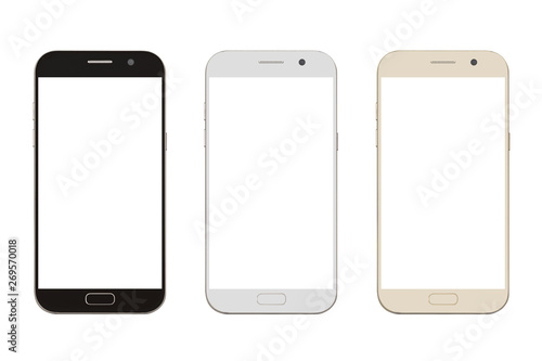 Fotografía  three corlor smart phone with blank screen isolated on white