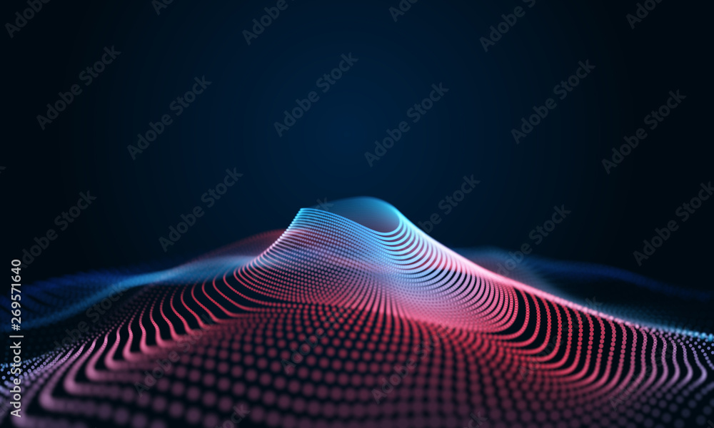 Fototapety, obrazy: Modern wave effect 3d colorful background
