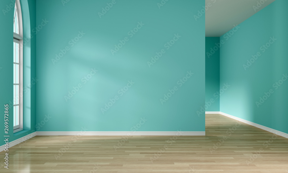 Fototapety, obrazy: Light from window and empty mint green room interior, 3D rendering
