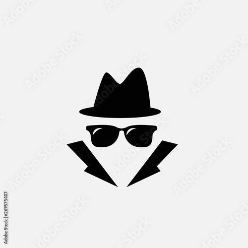 detective icon isolated on white background Canvas Print