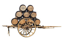 Two-wheeled Wooden Wagon Retro...
