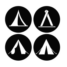 Camping Dome Or Tent Icon Set. Simple Set Of Camping Dome Or Tent Icons