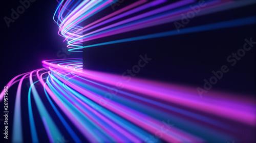 Fotografiet  Abstract neon light streaks lines motion background
