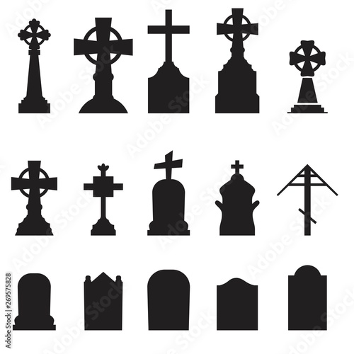 Gravestones and tombstones icons set isolated on white background Wallpaper Mural