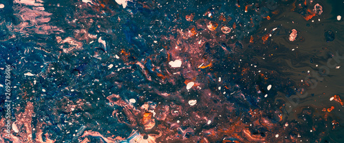 Obraz Splatter painting with acrylics. Color mix blend background. Modern technique style. Decorative creative pattern design. - fototapety do salonu